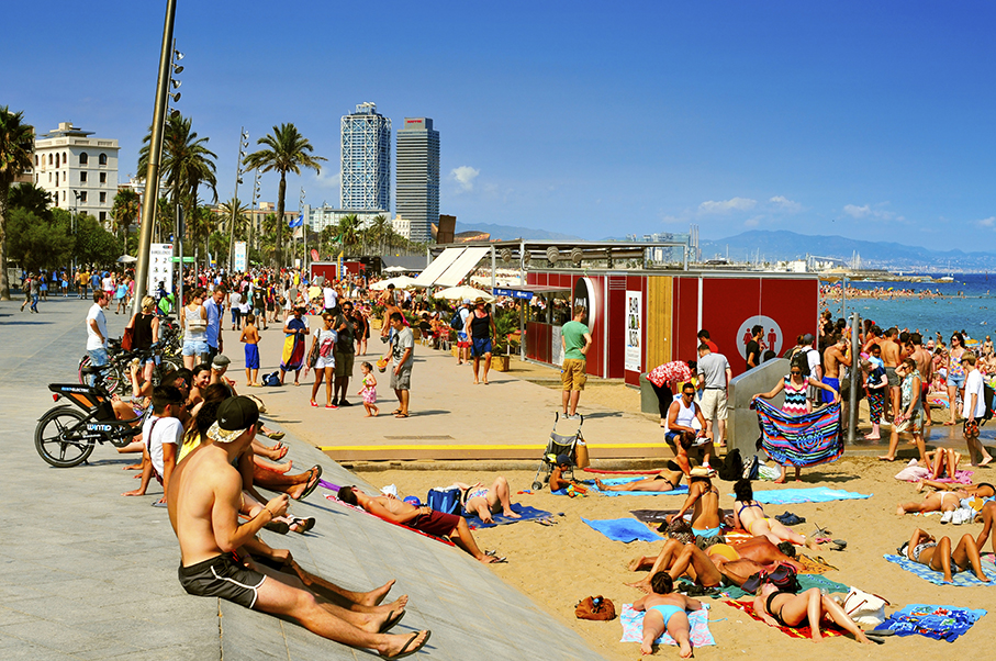 La Barceloneta Beach, in Barcelona, Spain